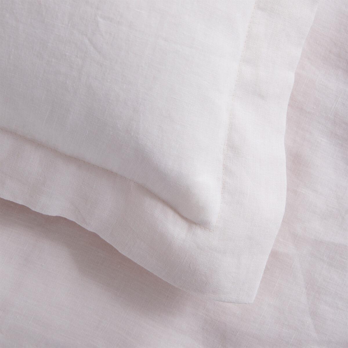 Blush Pink French Linen Square Oxford Pillowcase Pair