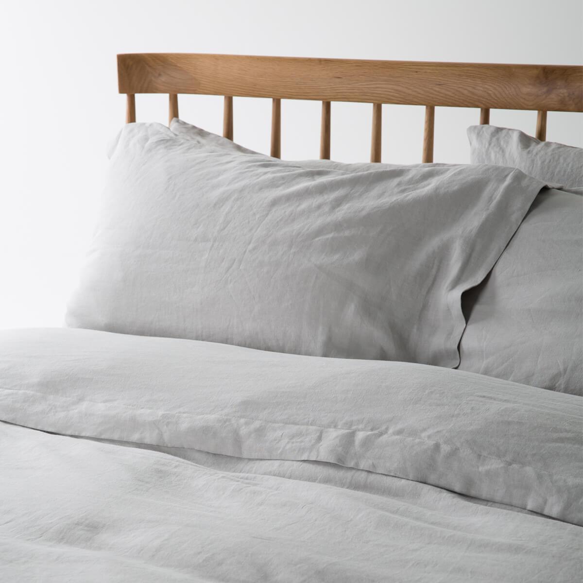 Light Grey French Linen Single Duvet Cover