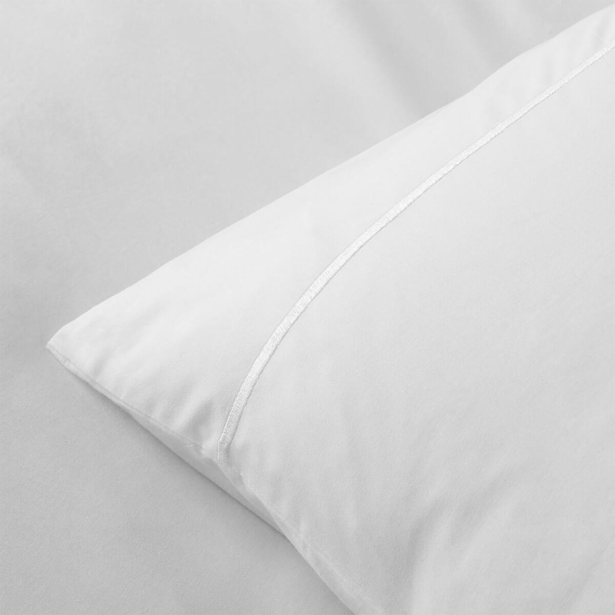 White 200TC Cotton Percale Euro Small Housewife Pillowcase Pair