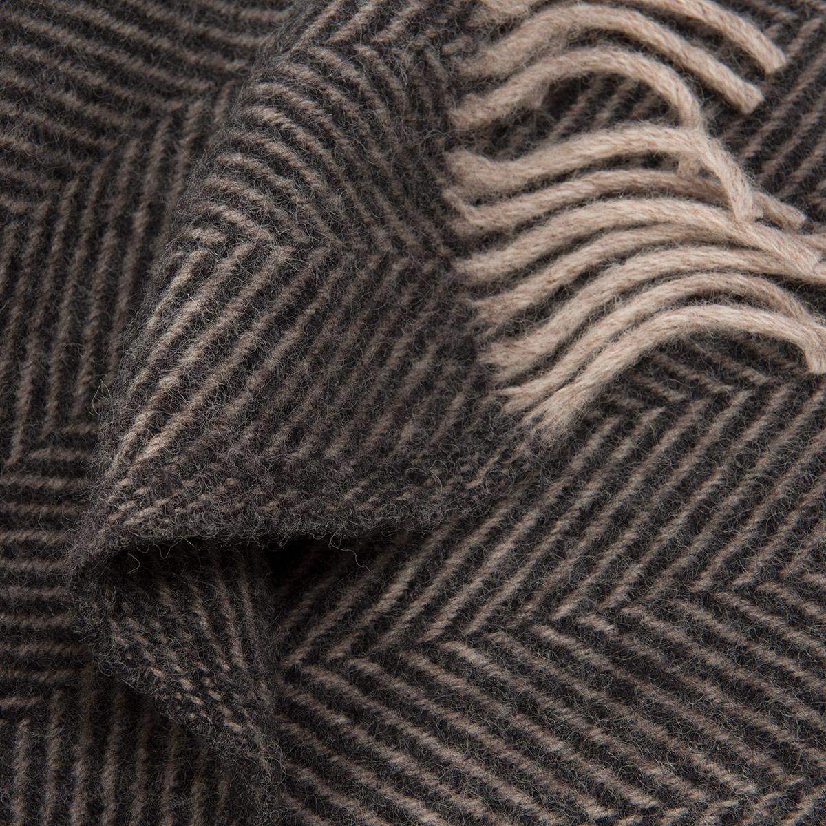 Charcoal Herringbone Pure Wool Throw