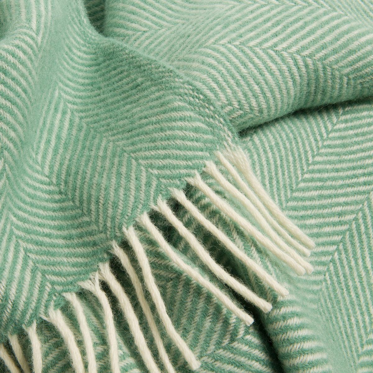 Sea Green Herringbone Pure Wool Throw