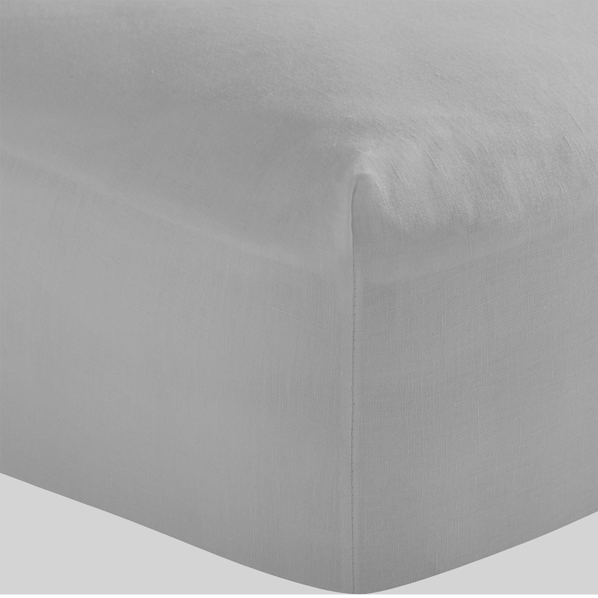Light Grey French Linen Superking Flat Sheet
