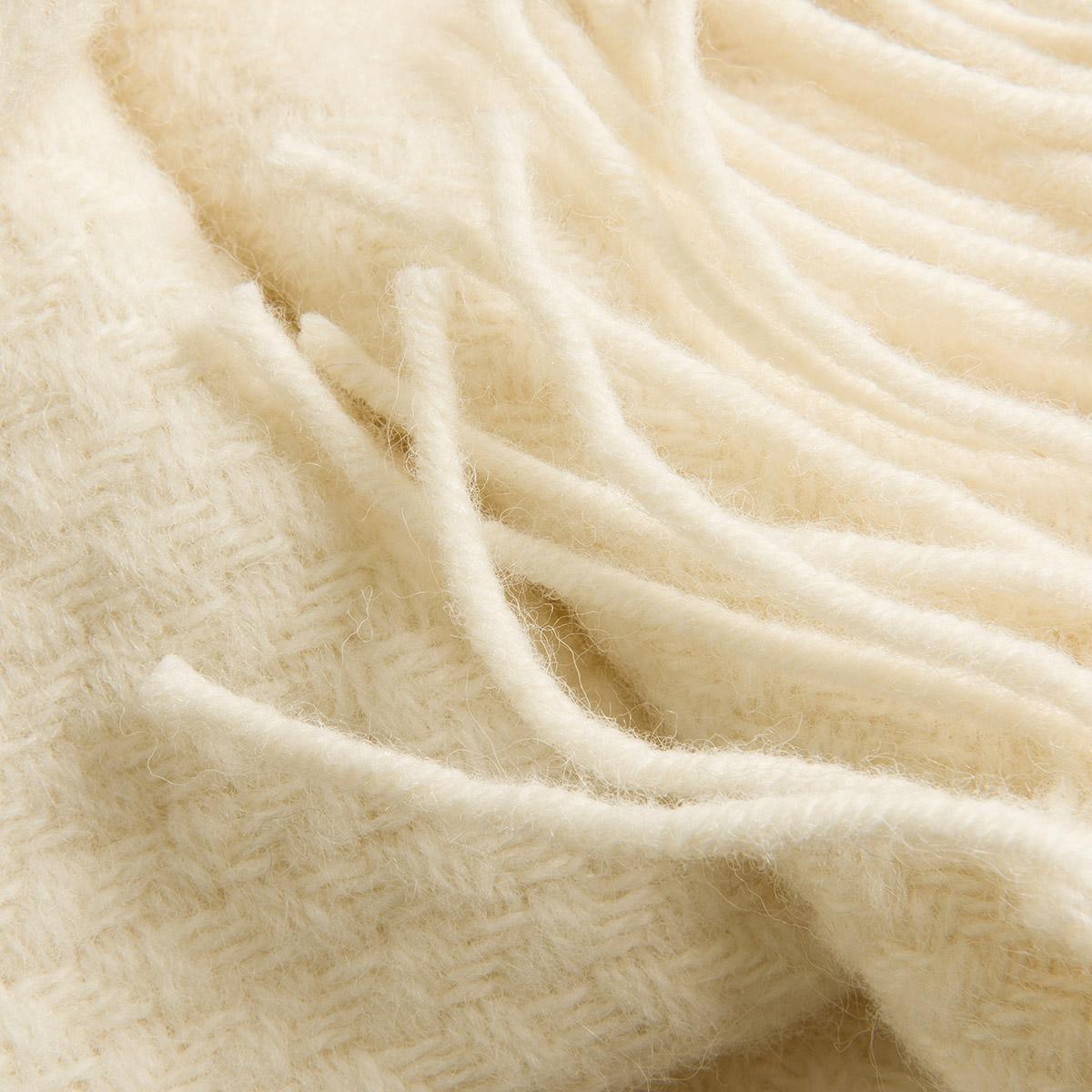 Cream Basket Weave Pure Wool Throw