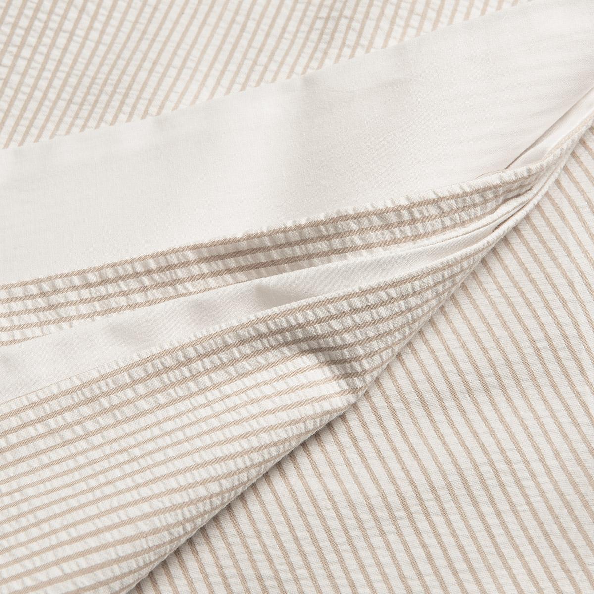 White/Natural Seersucker Stripe Single Duvet Cover