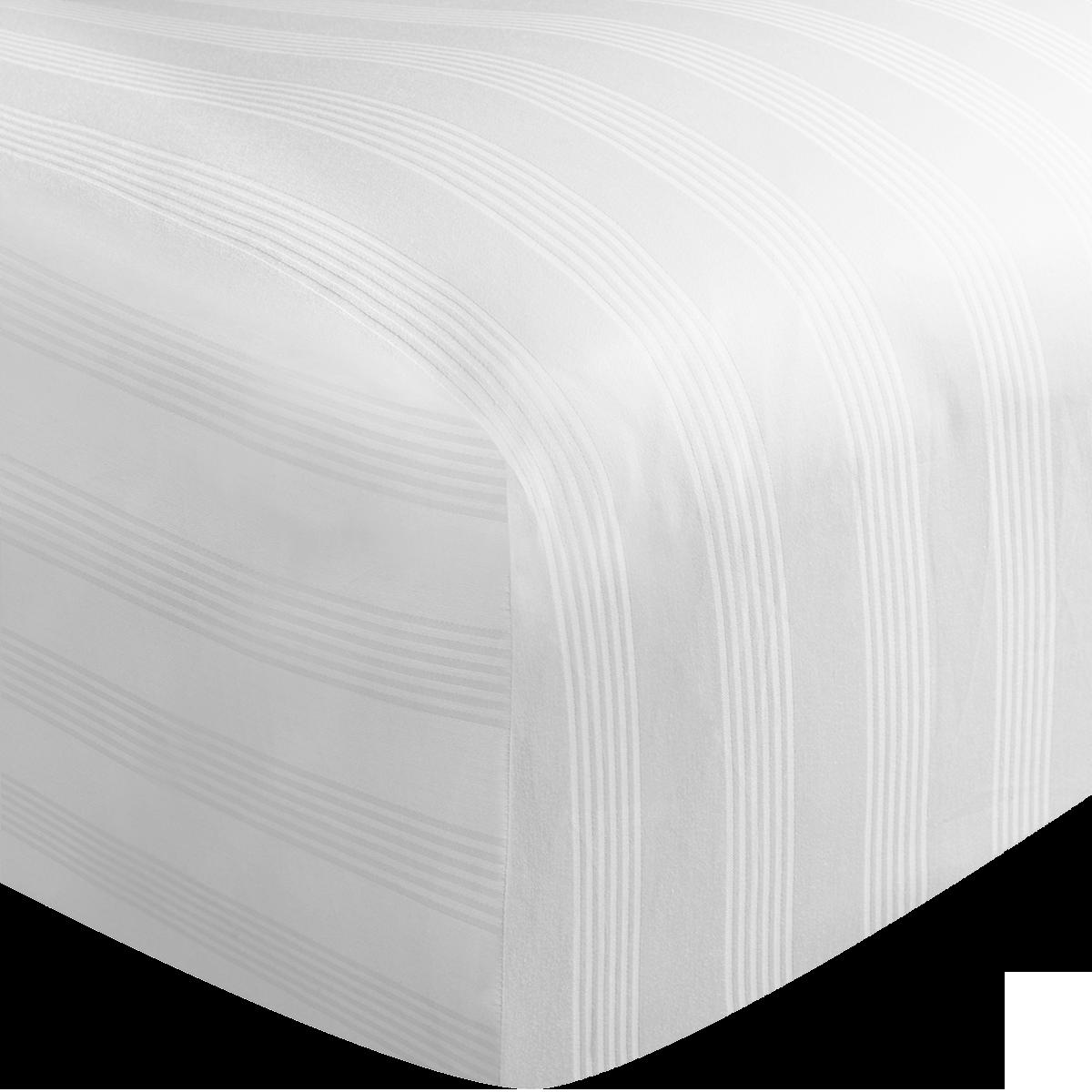 White 400 Thread Count Dobby Stripe Egyptian Cotton Superking Flat Sheet