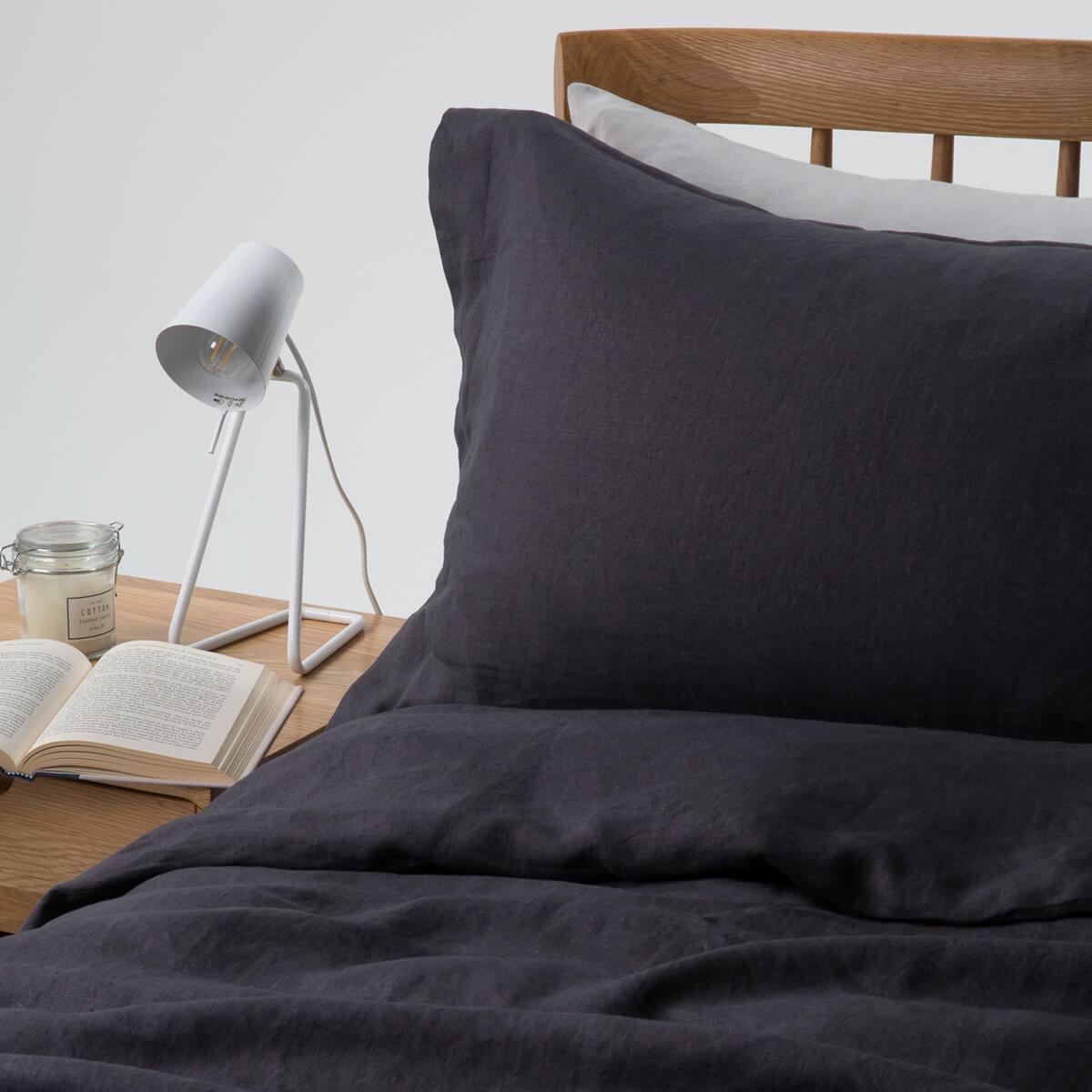 Midnight Grey French Linen Superking Duvet Cover