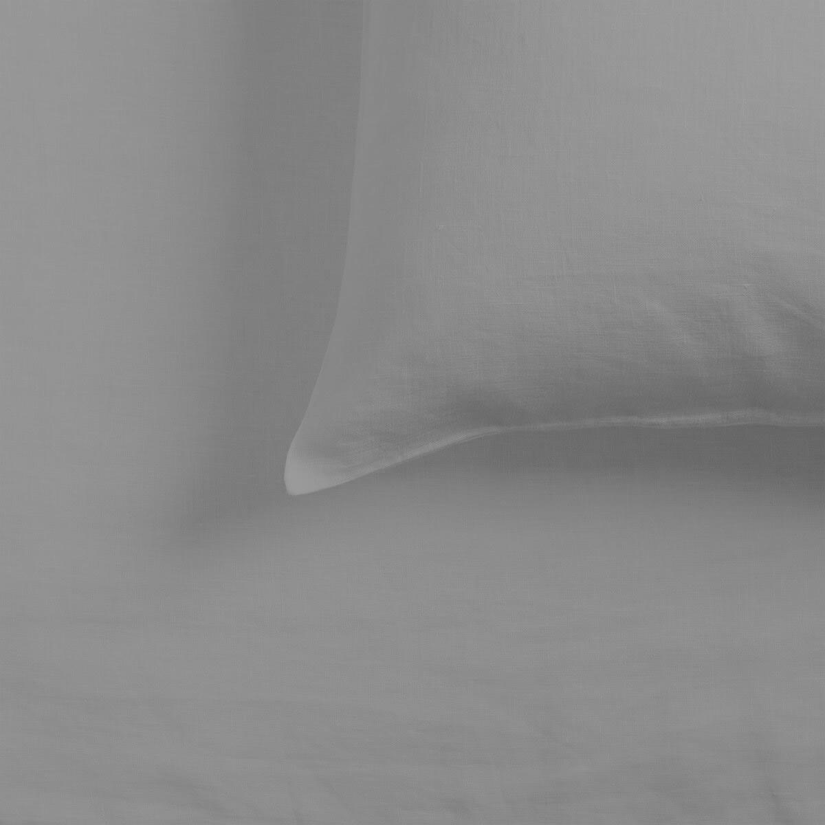 Light Grey French Linen Standard Housewife Pillowcase Pair