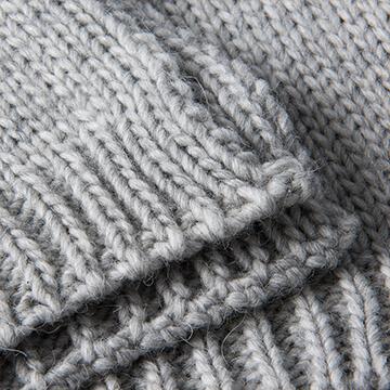 Light Grey Knitted Pure Alpaca Wool Throw