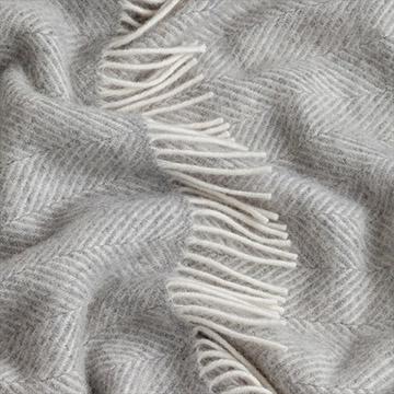 Light Grey Herringbone Pure Wool Throw