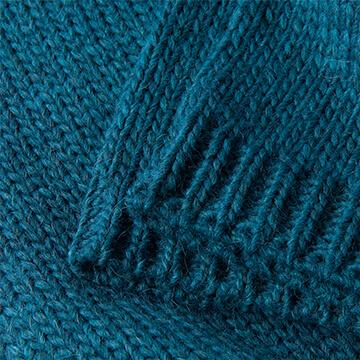 Teal Knitted Pure Alpaca Wool Throw