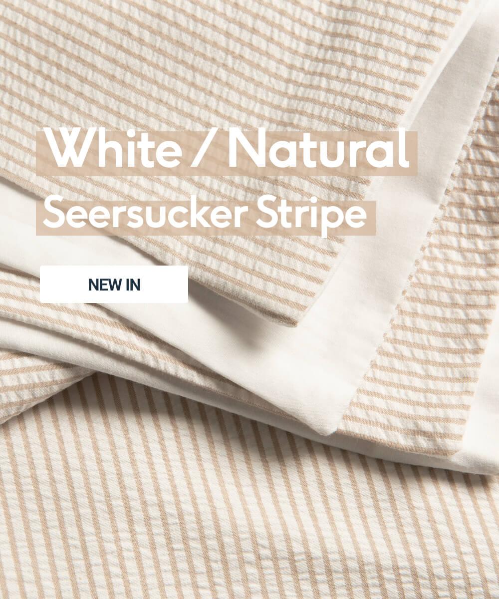 White/Natural Seersucker Stripe Bed Linen