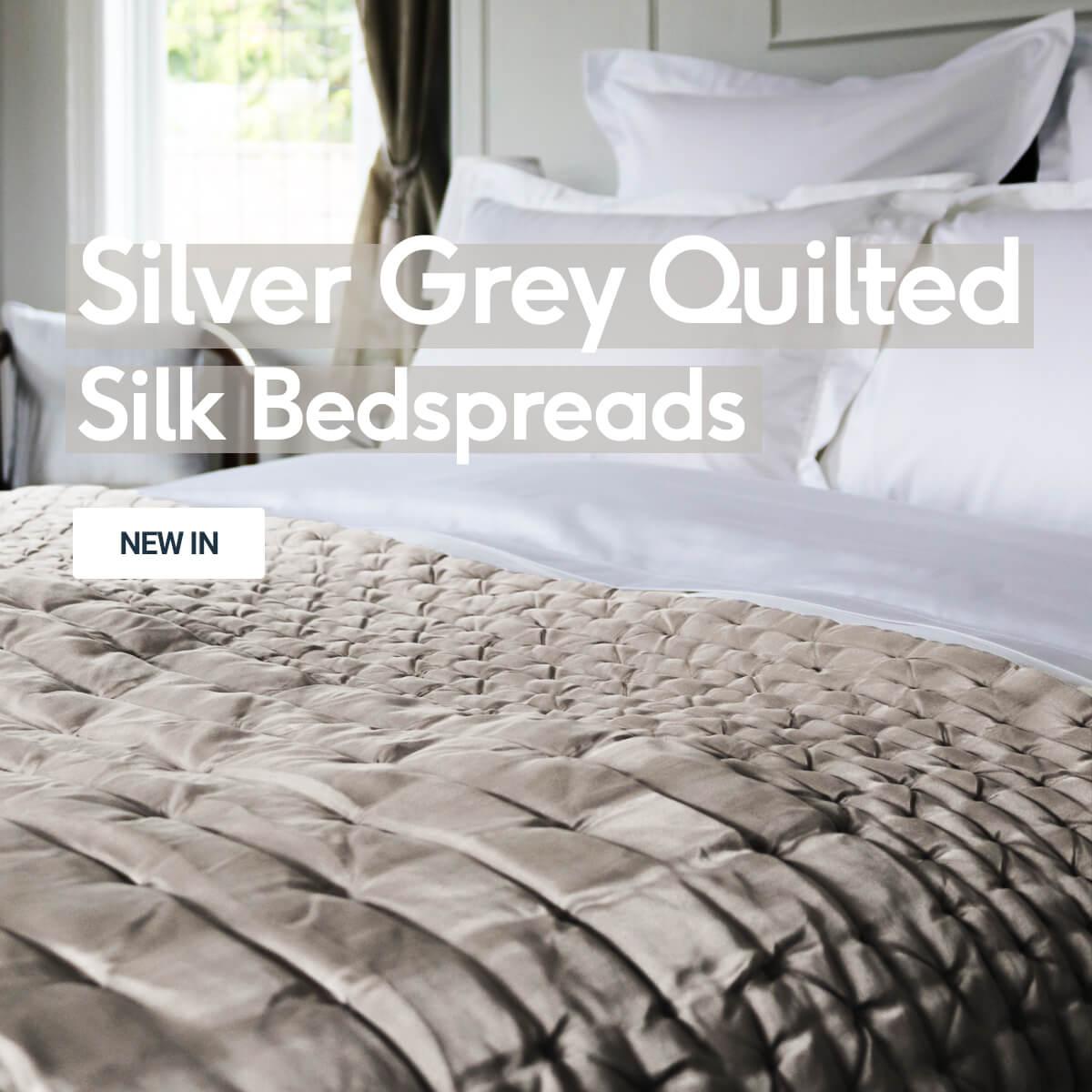 Silver Grey Quilted Silk Bedspread
