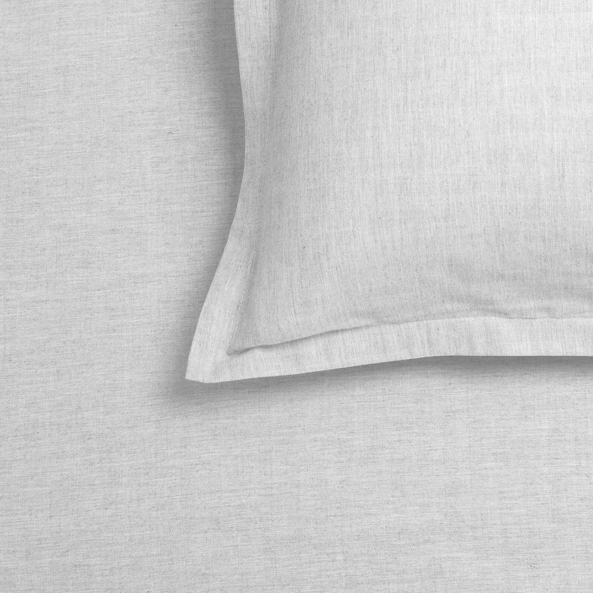 marled grey cotton cashmere oxford pillowcase